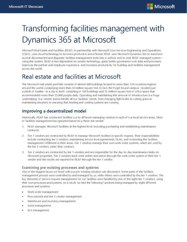 Transforming facilities management with Dynamics 365 at Microsoft